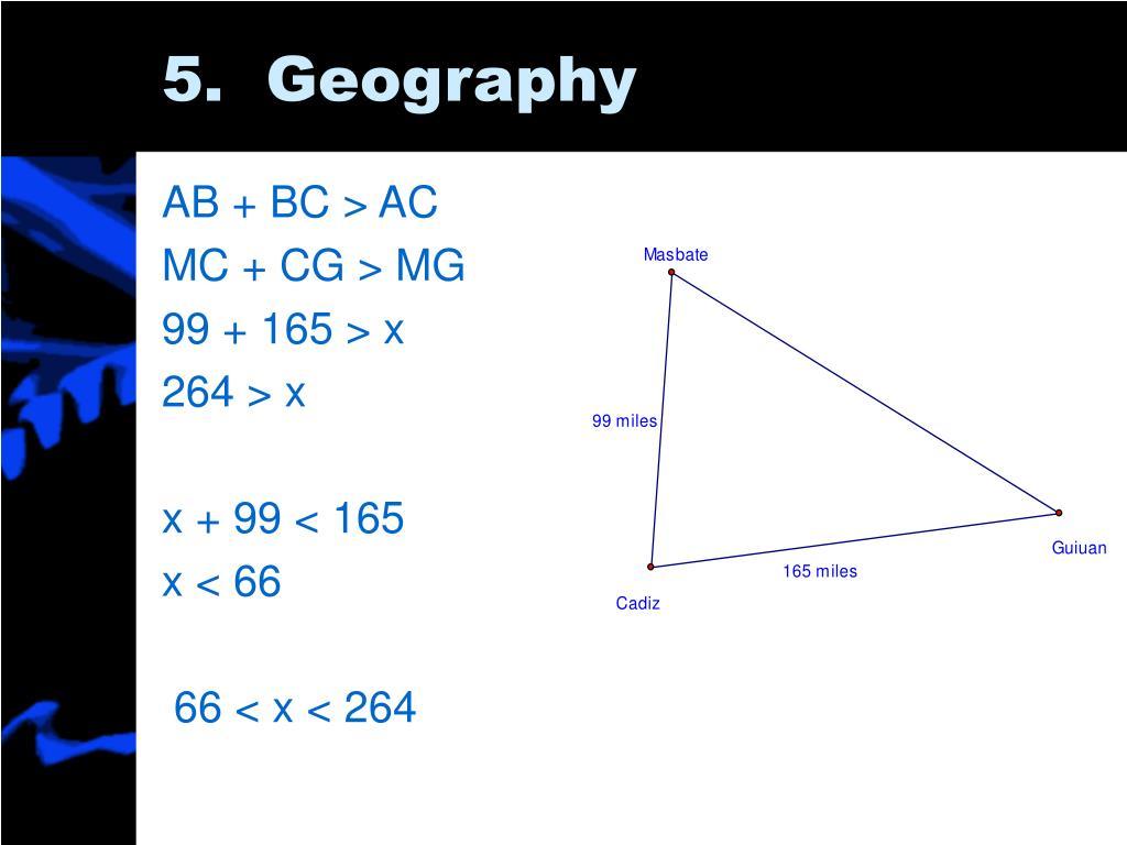 AB + BC > AC