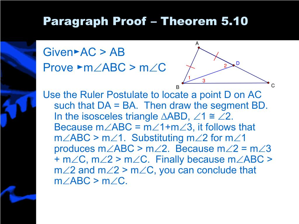 Paragraph Proof – Theorem 5.10