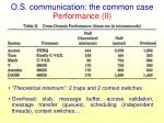 o s communication the common case performance ii