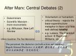 after marx central debates 2
