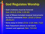 god regulates worship