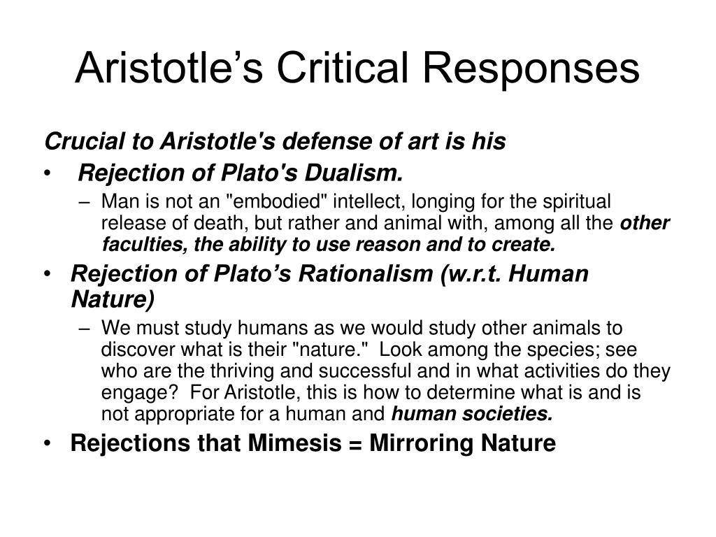 Aristotle's Critical Responses