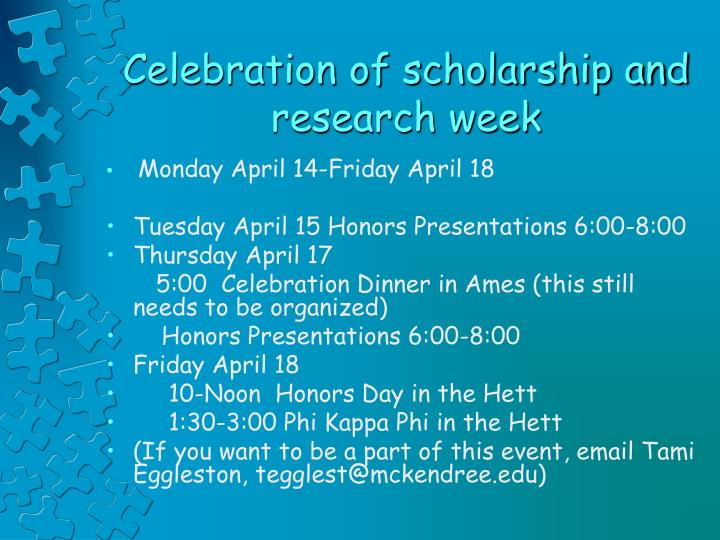 Celebration of scholarship and research week