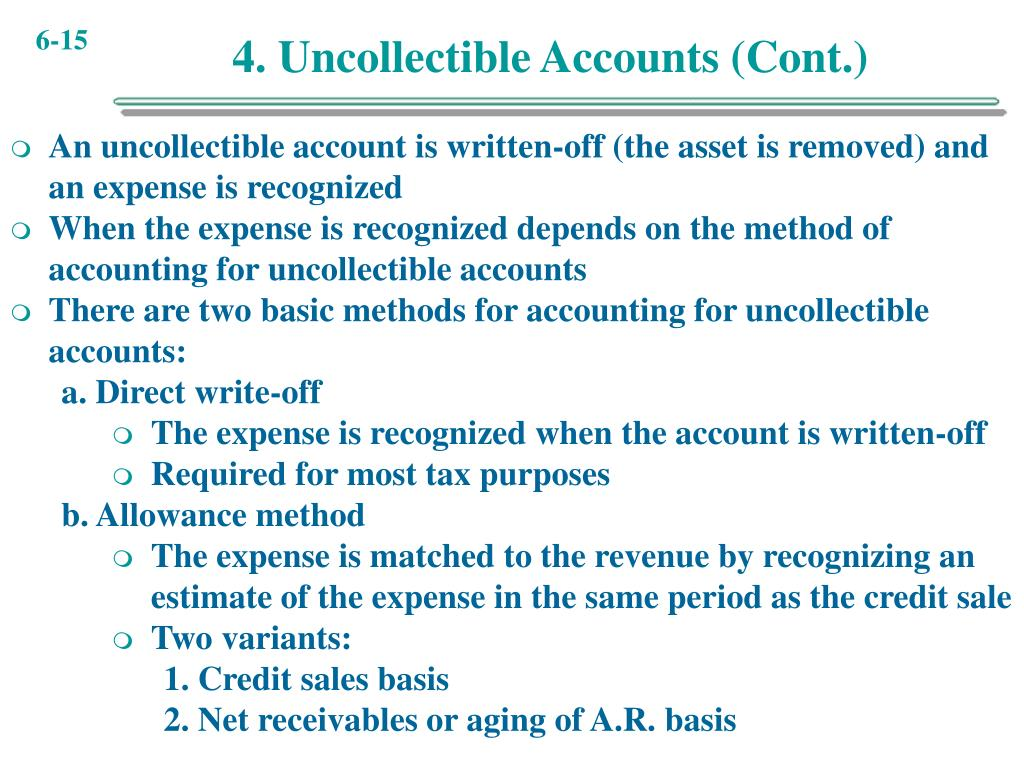 4. Uncollectible Accounts (Cont.)