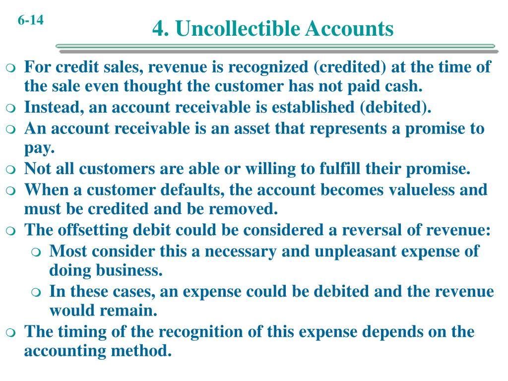 4. Uncollectible Accounts