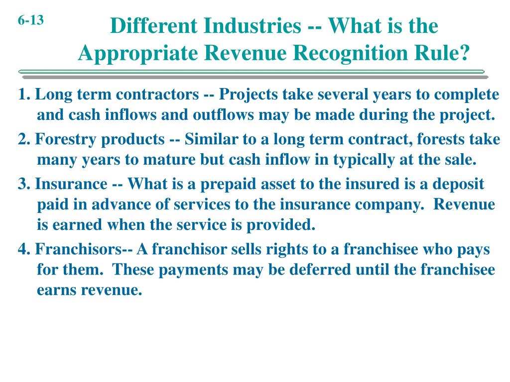 Different Industries -- What is the Appropriate Revenue Recognition Rule?