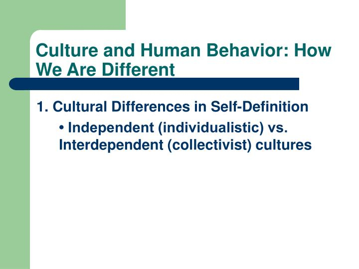 Culture and Human Behavior: How We Are Different
