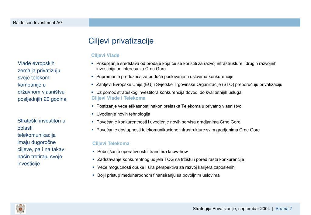 Ciljevi privatizacije