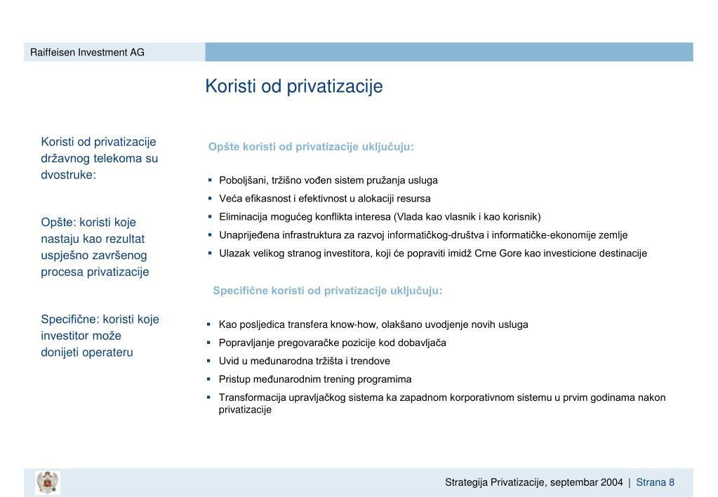 Koristi od privatizacije
