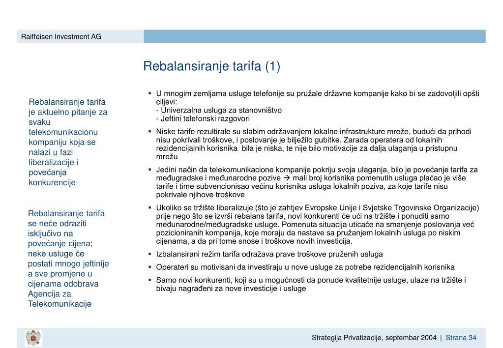 Rebalansiranje tarifa