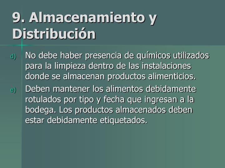 9. Almacenamiento y Distribución
