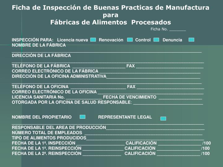 Ficha de Inspección de Buenas Practicas de Manufactura para