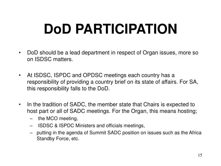 DoD PARTICIPATION
