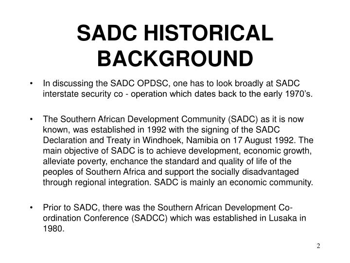 SADC HISTORICAL BACKGROUND