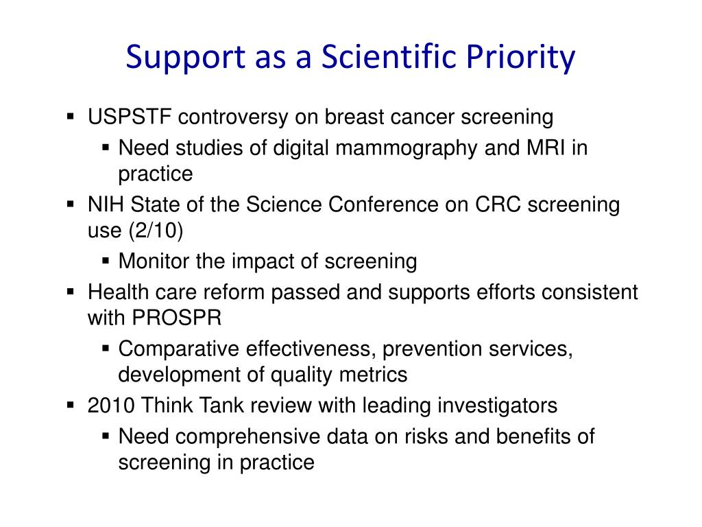 Support as a Scientific Priority