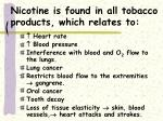 nicotine is found in all tobacco products which relates to