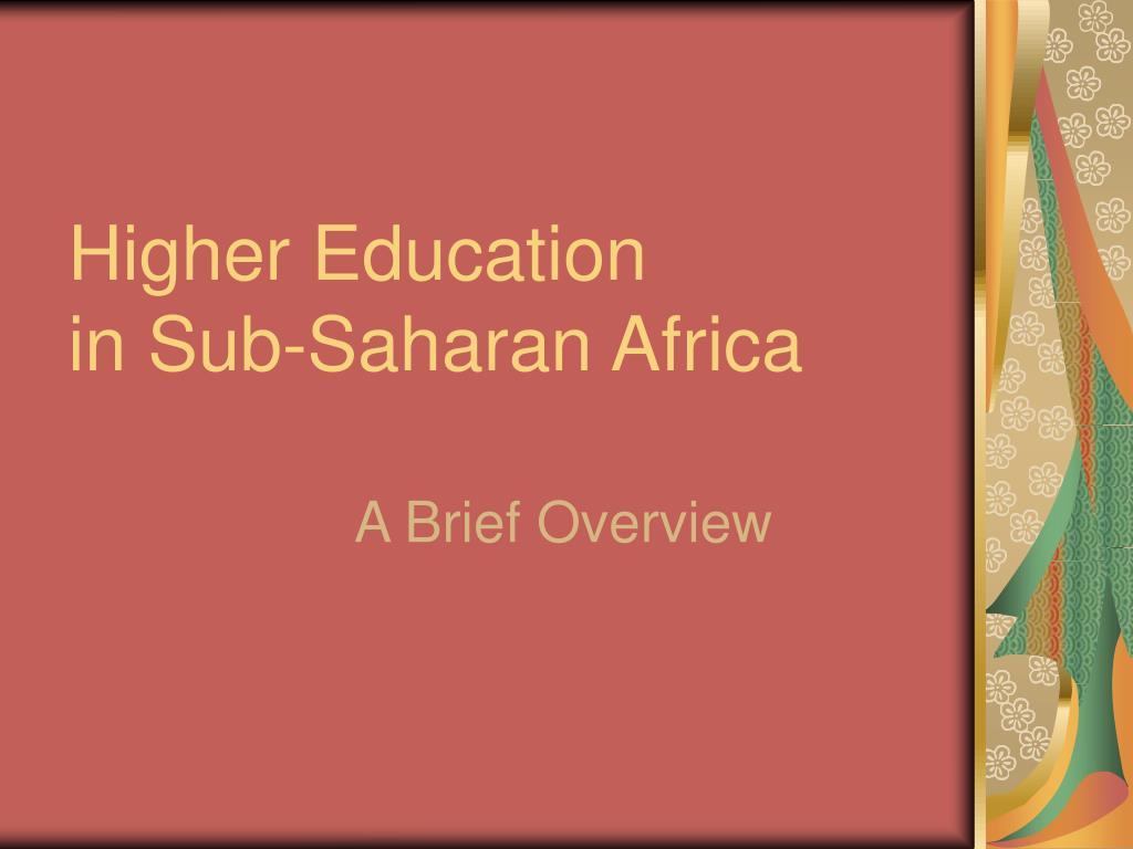 higher education in sub saharan africa