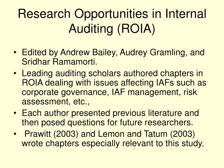 Research Opportunities in Internal Auditing (ROIA)
