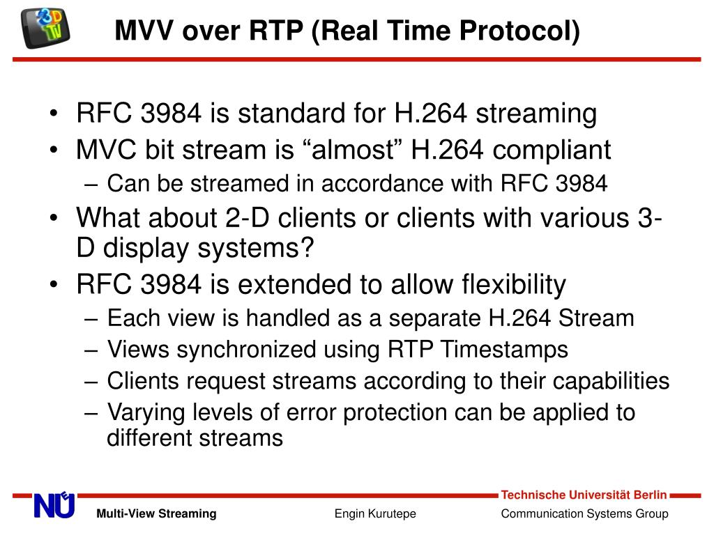 MVV over RTP (Real Time Protocol)