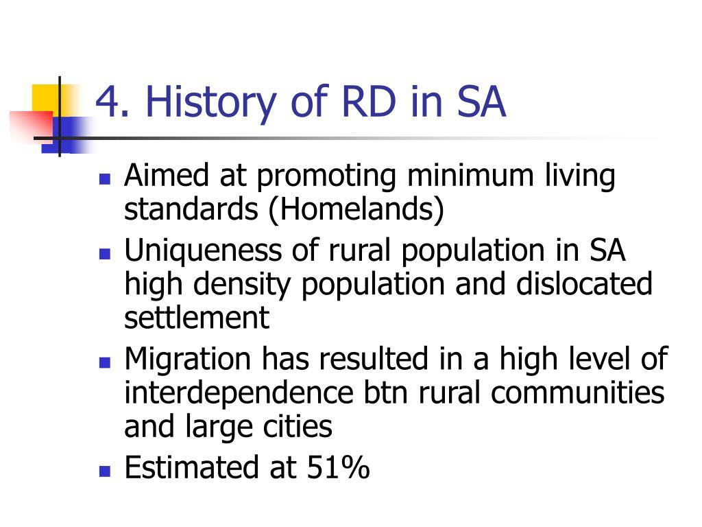 4. History of RD in SA