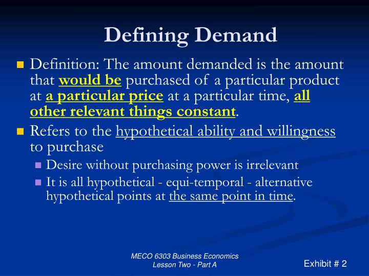Defining Demand