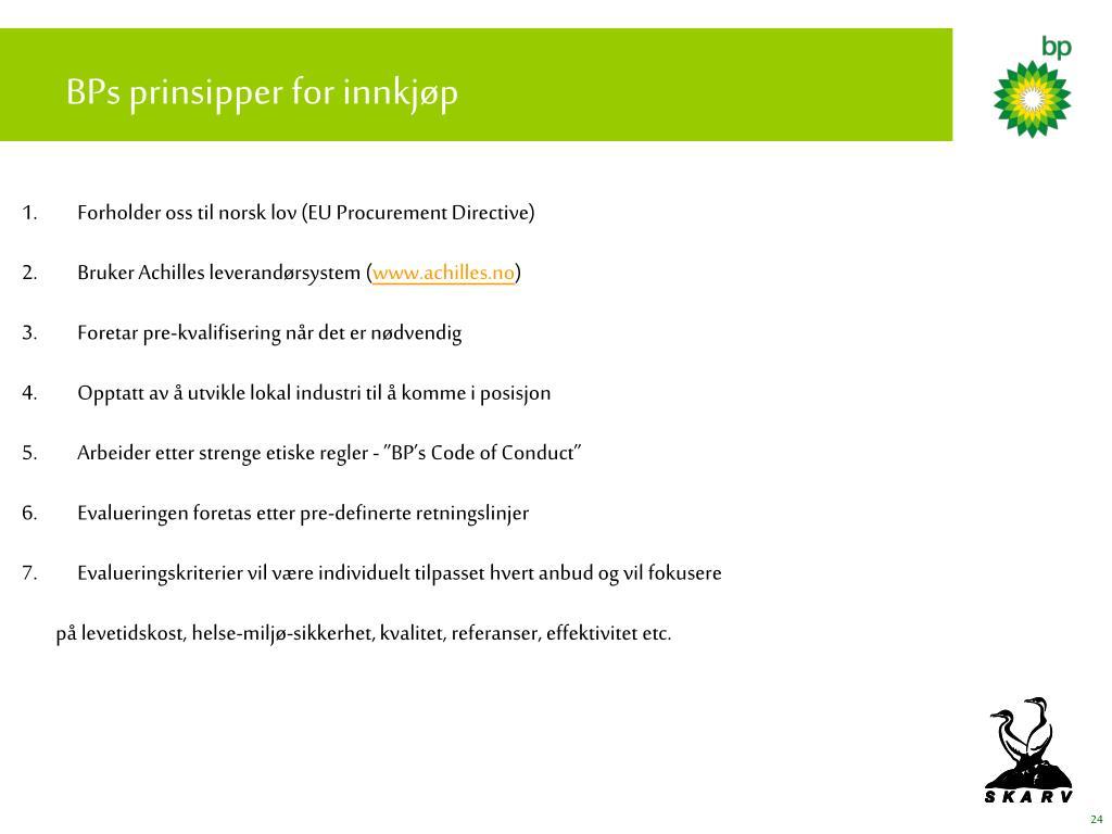 BPs prinsipper for innkjøp