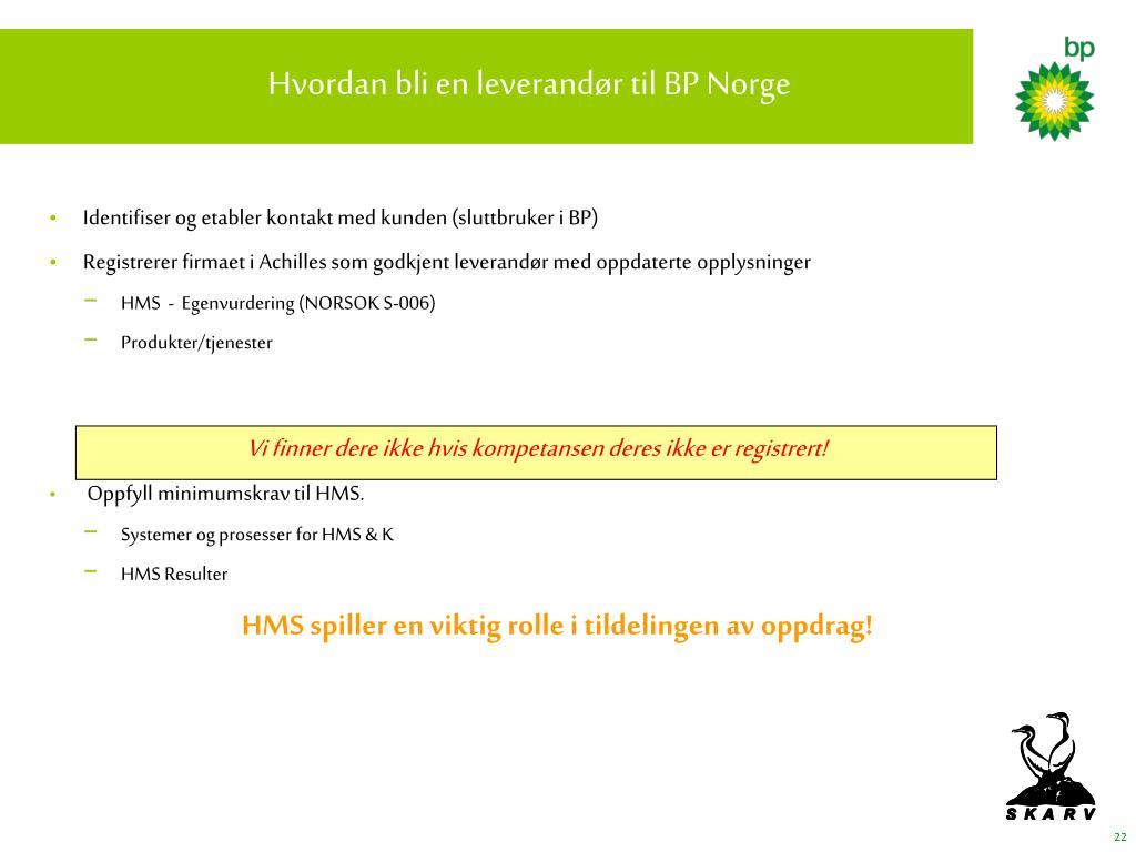 Hvordan bli en leverandør til BP Norge