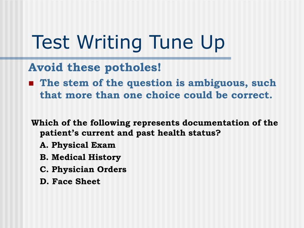 Test Writing Tune Up