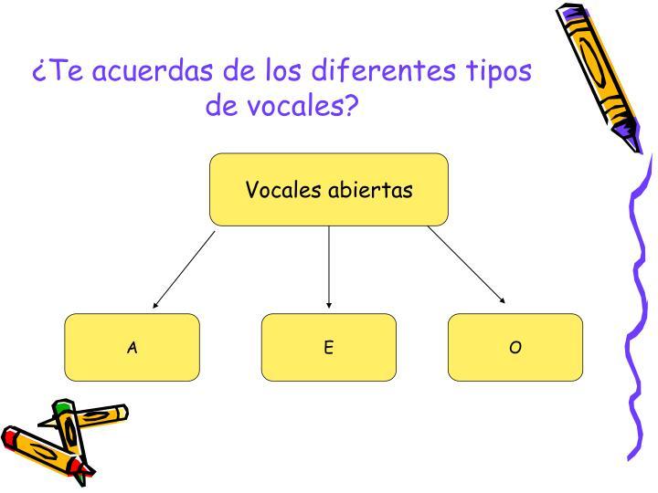 ¿Te acuerdas de los diferentes tipos de vocales?