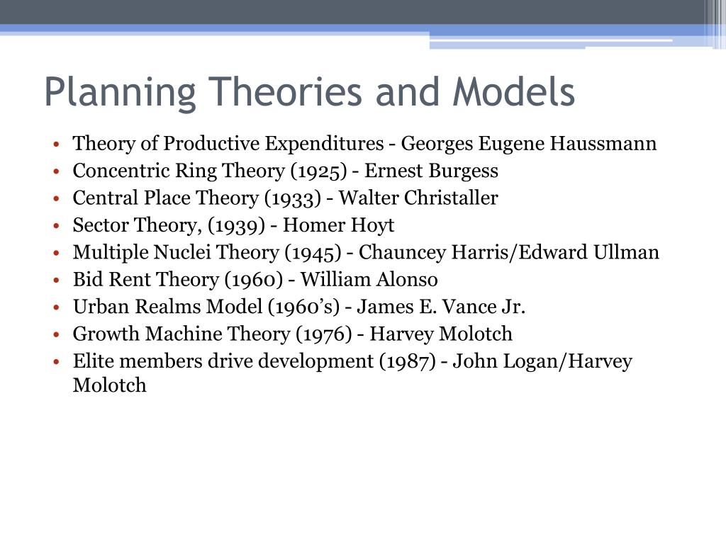 Planning Theories and Models