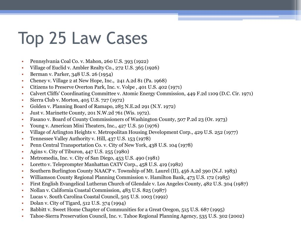 Top 25 Law Cases