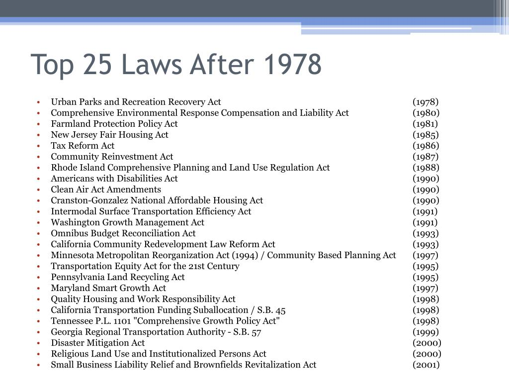 Top 25 Laws After 1978