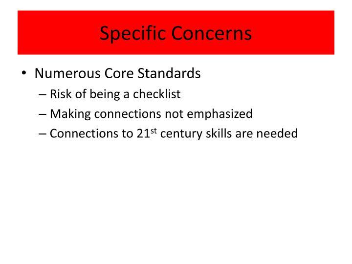 Specific Concerns