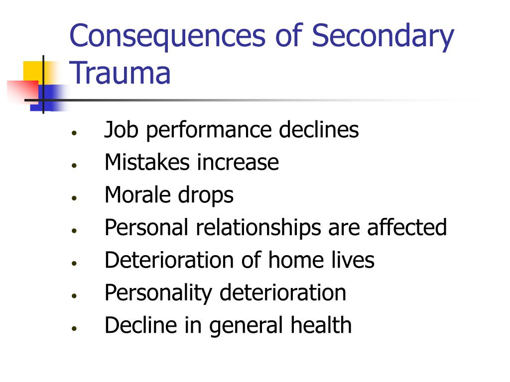 Consequences of Secondary Trauma