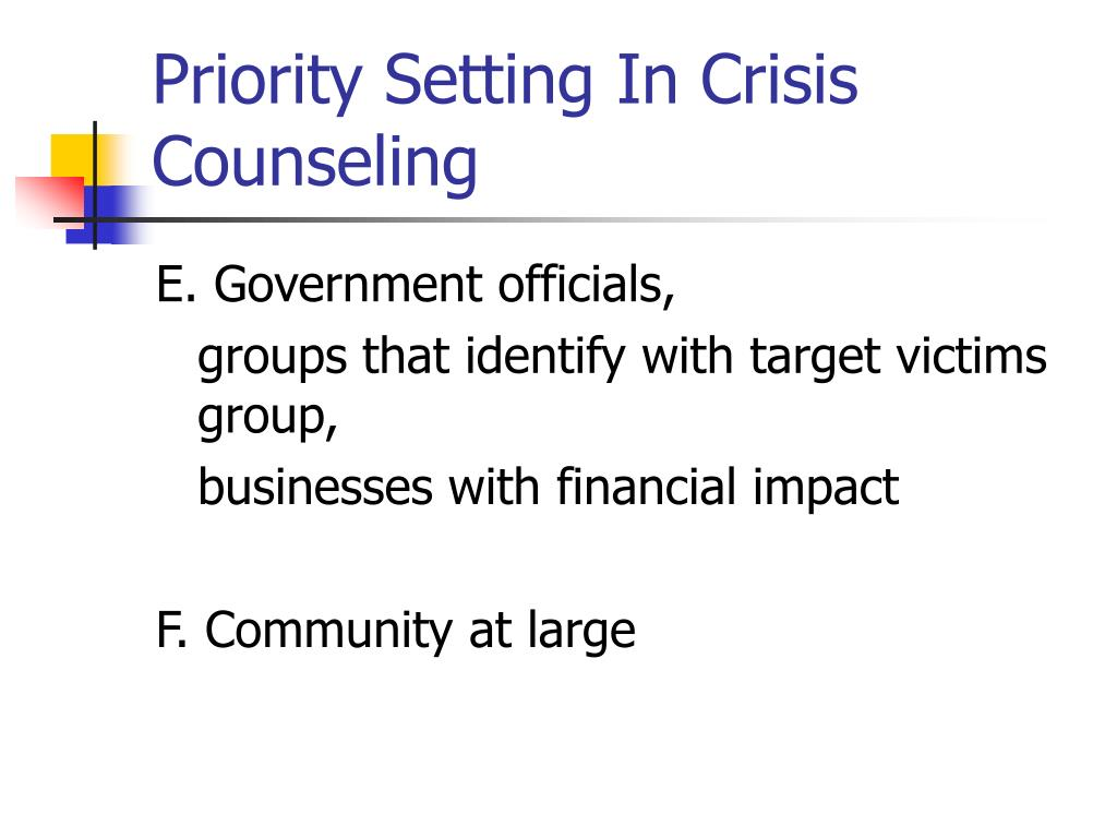 Priority Setting In Crisis Counseling