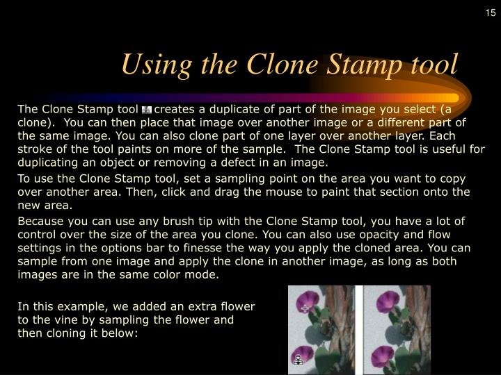 Using the Clone Stamp tool