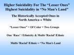 higher suicidality for the lesser ones highest suicidality in no man s land14
