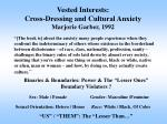 vested interests cross dressing and cultural anxiety marjorie garber 1992