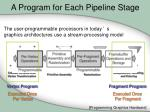 a program for each pipeline stage