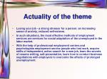 actuality of the theme
