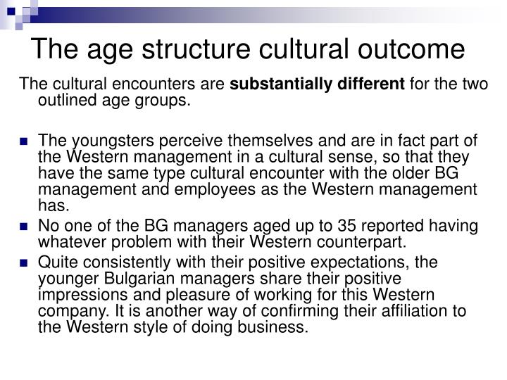 The age structure cultural outcome