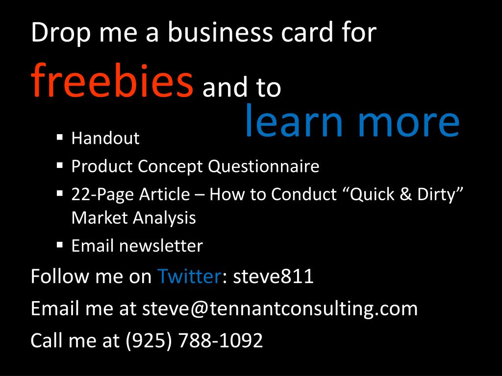 Drop me a business card for