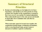 summary of structural priorities