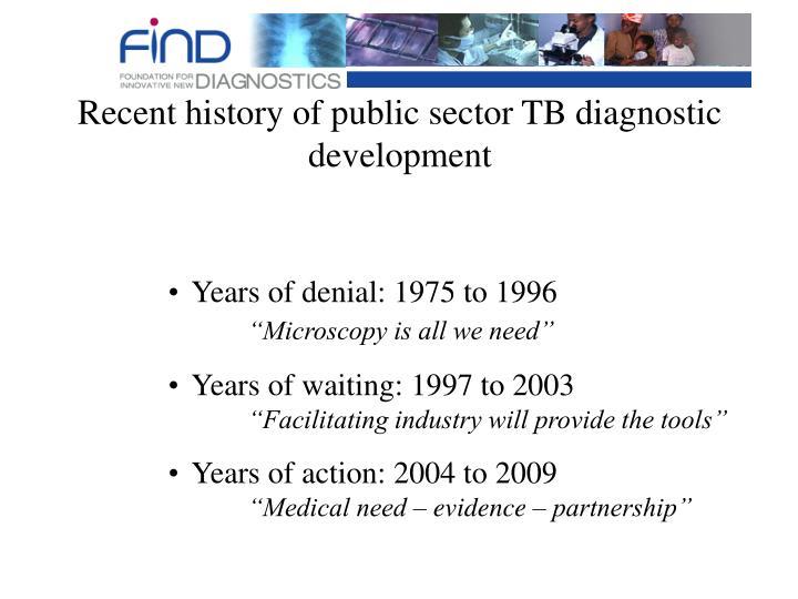 Recent history of public sector TB diagnostic development