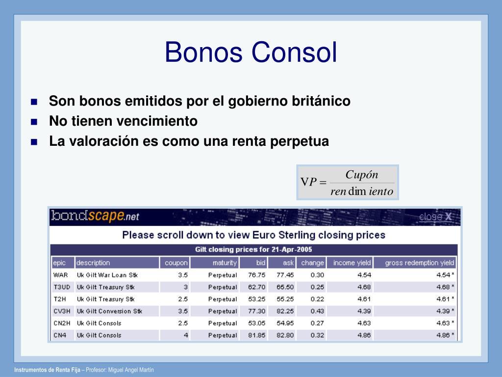 Bonos Consol