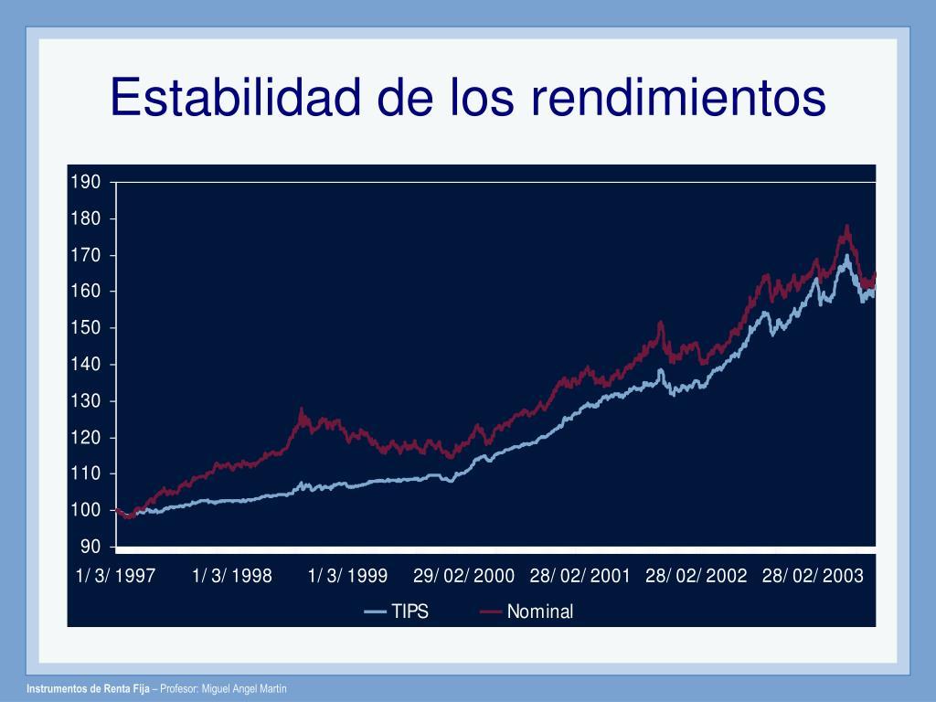 Estabilidad de los rendimientos