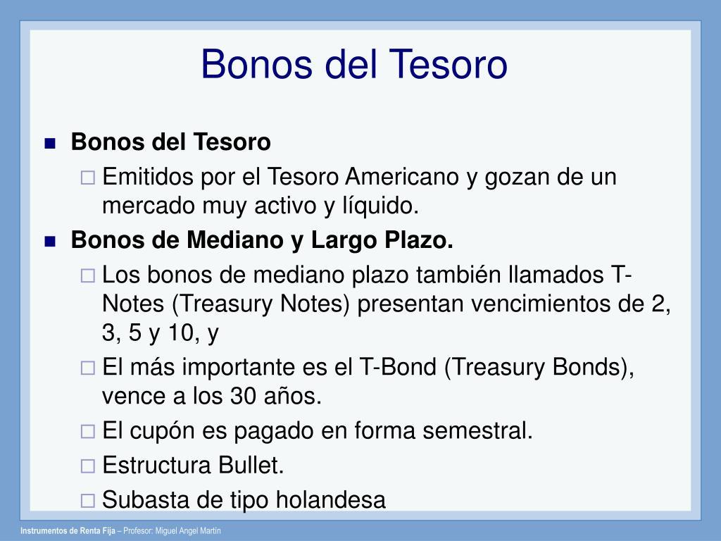 Bonos del Tesoro