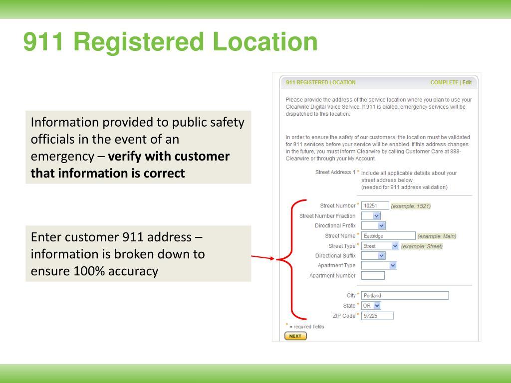 911 Registered Location