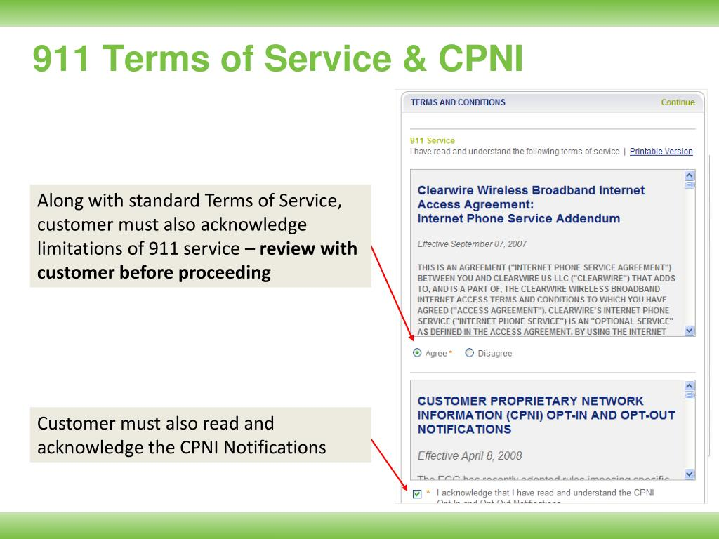 911 Terms of Service & CPNI