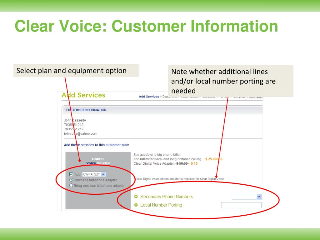 Clear Voice: Customer Information
